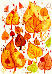 autumn leaves background, watercolor paint on paper