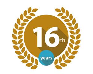 16th years gold circle anniversary logo