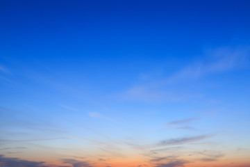 The blue sky in the evening