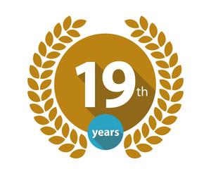 19th years gold circle anniversary logo