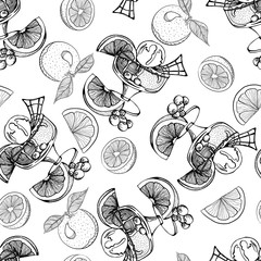 Seamless monochrome pattern with ice cream with oranges and berries