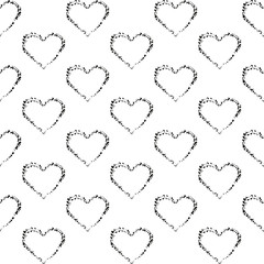 Seamless pattern of hearts. Vector pattern. Ink Doodle.