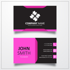 Puzzle, group sign icon. Business card vector template.