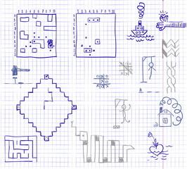 doodles in a school notebook