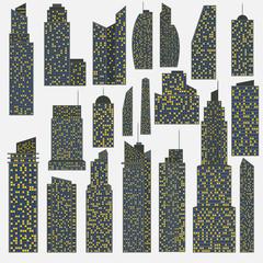 Set of detailed vector skyscraper