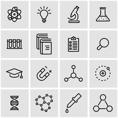 Vector line science icon set. Science Icon Object, Science Icon Picture, Science Icon Image - stock vector