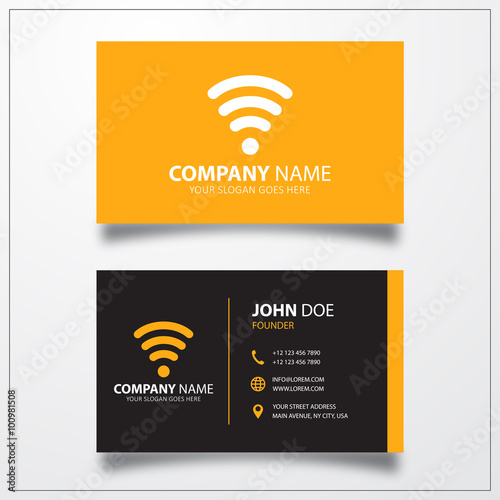 Wifi signal sign icon business card vector template stock image business card vector template reheart Gallery