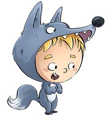 niño con disfraz de lobo
