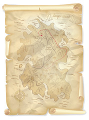 Old pirates treasure island map with marked location, vector illustration
