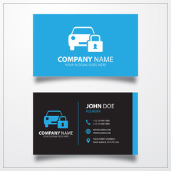 Locked car sign icon. Business card vector template.
