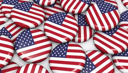 USA Flag On Badges Background