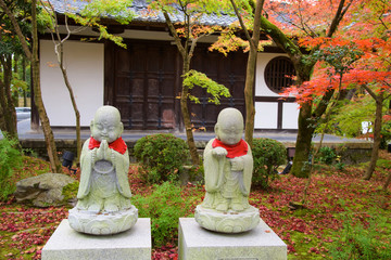 Buddha statues on autumn garden at Eikando, Kyoto