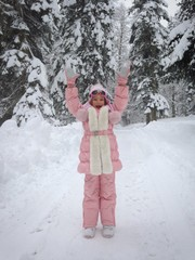 Happy Child In Winter Outdoors