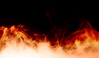 fire burst on the black background