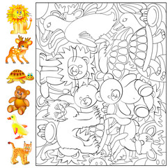 Exercises for young children - needs to find and to paint the animals. Developing skills for drawing and coloring. Vector image.