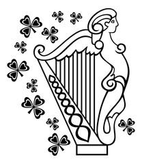 Outline image of Irish harp