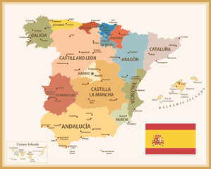 Vintage Map of Spain with flag