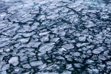 floe freezing Lake Baikal in December