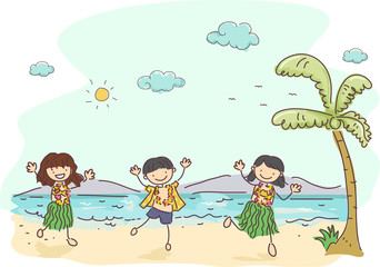 Stickman Hawaiian Kids