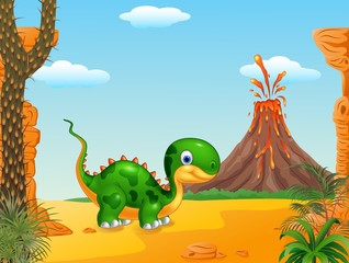 Cute baby dinosaur with prehistoric background