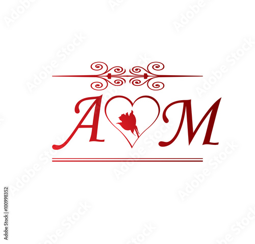 Am Love Initial With Red Heart And Rose Stock Image And Royalty