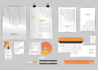 orange and grey corporate identity template  for your business includes CD Cover, Business Card, folder, ruler, Envelope and Letter Head Designs
