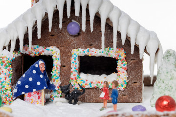 Gingerbread house / Gingerbread house with the fairy tale of Hansel and Gretel