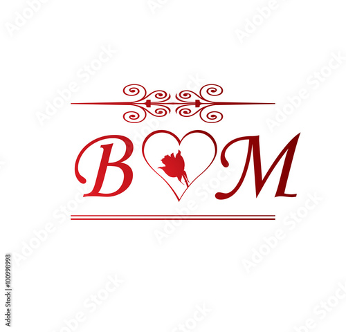 bm love initial with red heart and rose stock image and royalty