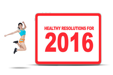 Woman Showing Healthy Resolution for 2016
