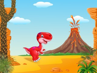 Cute dinosaur mascot with prehistoric background