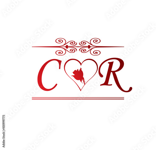 cr love initial with red heart and rose stock image and royalty