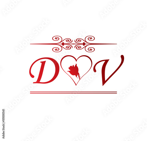 dv love initial with red heart and rose stock image and royalty