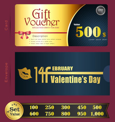 Valentine Day Gift voucher template with premium pattern and envelope design  Can be used for coupon,discount,ticket,certificate,gift,card, background design template,Vector illustration