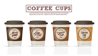 Collection of coffee badges and logo design on coffee cup , can be used as Logo or label coffee cup in premium quality for cafe , Coffee shop, Restaurant,advertising .Vector illustration