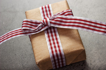 Wrapped gift with ribbon for Valentines Day