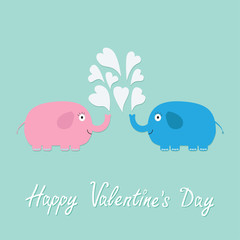 Happy Valentines Day. Love card. Pink, blue elephants with heart fountain Flat design