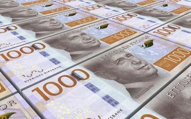 Swedish kronor bills stacks background. Computer generated 3D photo rendering.