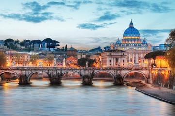 Poster Rome Rome - Vatican city at night