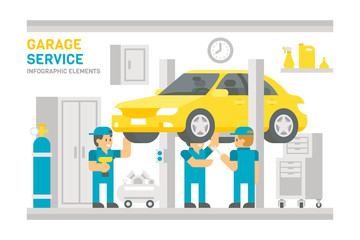 Flat design garage service infographic
