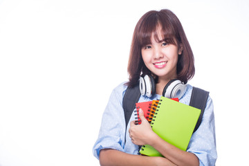 Young student find textbook for search and learn knowleadge