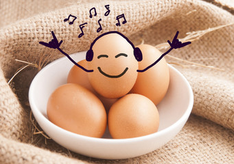 Eggs smiling , relax or rest concept