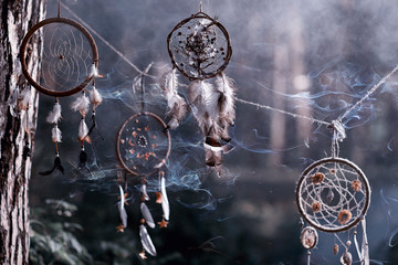 Dreamcatcher in a mystical forest. Mystic, smoke, dreamcatcher.