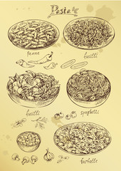 hand drawing set of pasta