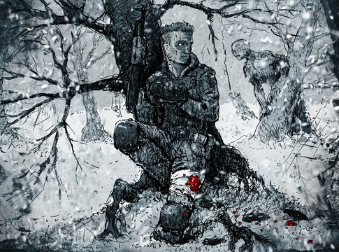 Soldier hiding in the winter forest
