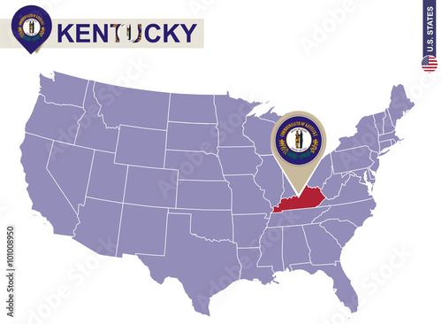 Kentucky State on USA Map. Kentucky flag and map.
