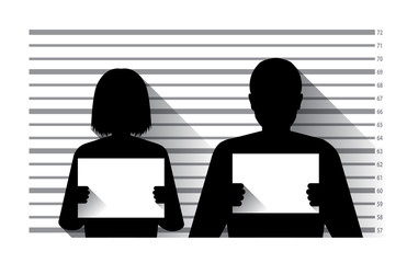 Police criminal record with man and woman , flat design - fototapety na wymiar