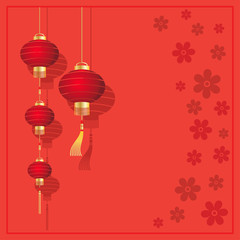 Christmas card with Chinese lanterns