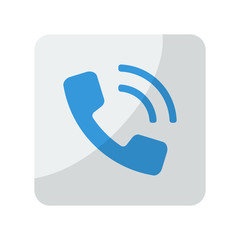 Blue Phone icon on grey rounded square button on white