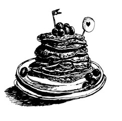 dessert fresh hot pancakes, maple syrup poured with blueberries, graphic ink sketch hand drawn vector illustration