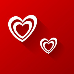 Valentine hearts on red background. Vector
